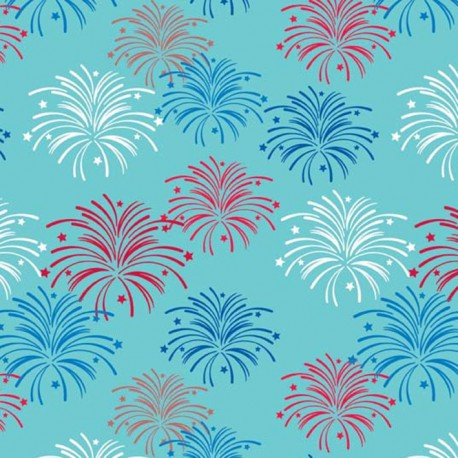 Fabric Star spangled Feu d'artifices aqua x 10cm