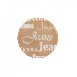 Polyester button, jeans - light brown