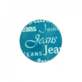 Polyester button, jeans - blue green