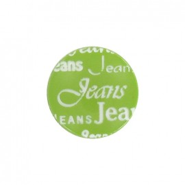 Polyester button, jeans - green