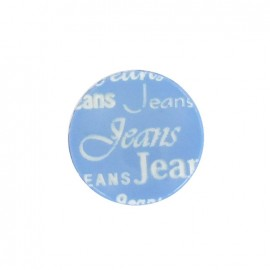 Polyester button, jeans - blue