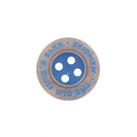 "Metal button, ""memoirs"" - light blue"
