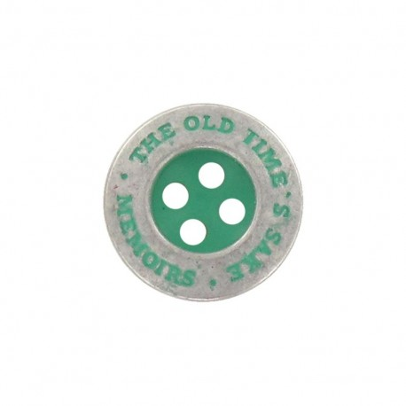 "Metal button, ""memoirs"" - green"