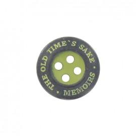 "Bouton métal ""memoirs"" vert anis"