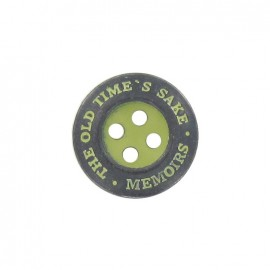 "Metal button, ""memoirs"" - lime"