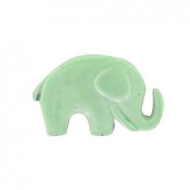 Bouton métal laqué éléphant vert d'eau