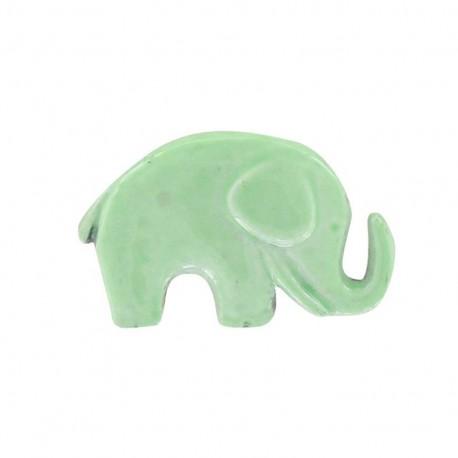 Bouton métal éléphant vert d'eau