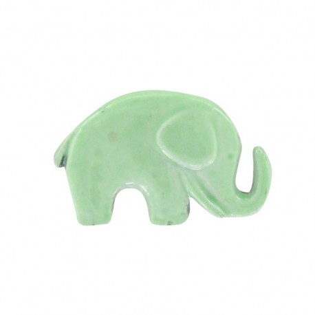 Metal varnished button, elephant - sea green
