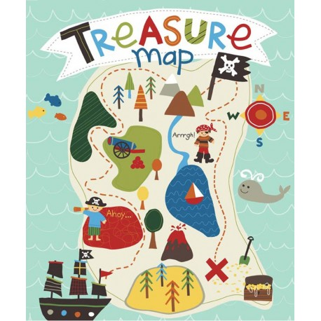 Tissu Treasure map Carte teal x 90cm