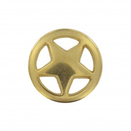 Metal button, Star in a circle - golden