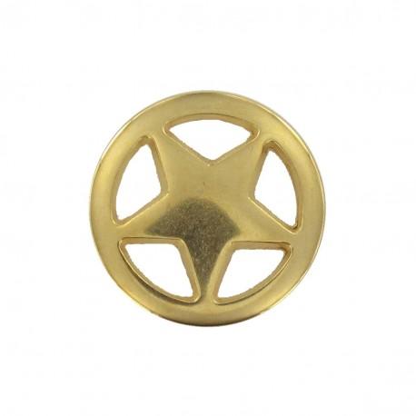 Bouton métal étoile encerclée doré