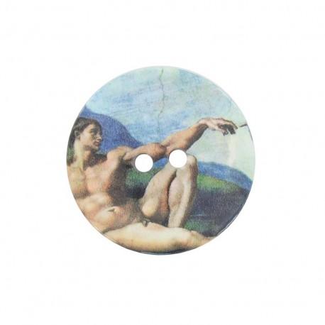 Wooden button, work of art B - blue