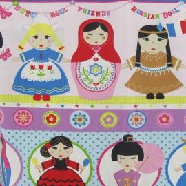 Tissu coton cretonne poupée multicolore x 31cm