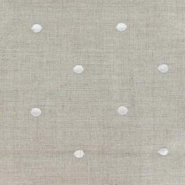 ♥ Coupon tissu 30 cm X 150 cm ♥ Tissu lin Bardo à pois brodés blancs