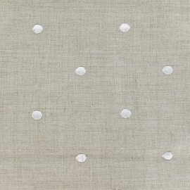 Bardo Linen fabric with embroided white dots x 10cm