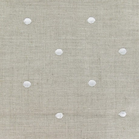 Bardo Linen fabric with embroided white dots