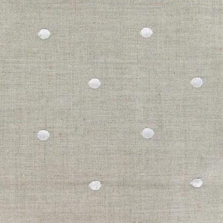 Tissu lin Bardo à pois brodés blancs