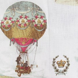 Linen Fabric - Hot-air balloon white x 65cm