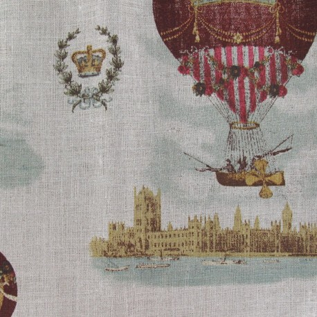 Linen Fabric - Hot-air balloon x 10cm