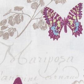 Tissu lin Butterfly blanc x 10cm