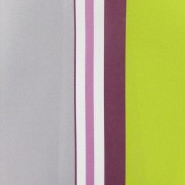 Tissu toile polyester impression digitale Manael prune/gris x 10cm cm