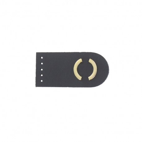 Sew-on leather snap fastener Summer - black/golden