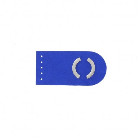 Sew-on leather snap fastener Summer - royal blue/silver
