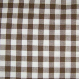 Big checked Vichy fabric - chocolate x 10cm