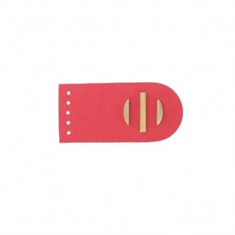 Sew-on leather snap fastener Sunshine - pink/golden