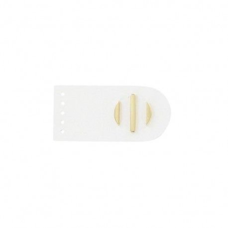 Sew-on leather snap fastener Sunshine - white/golden