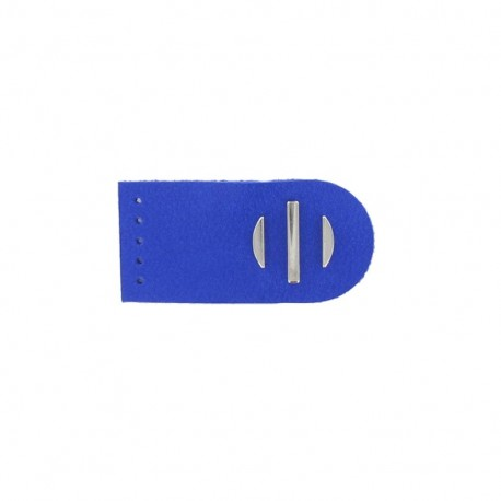 Sew-on leather snap fastener Sunshine - royal blue/silver