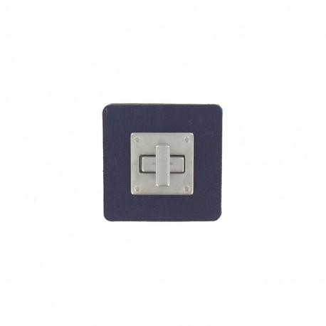 Fermoir pivotant carré cuir bleu marine