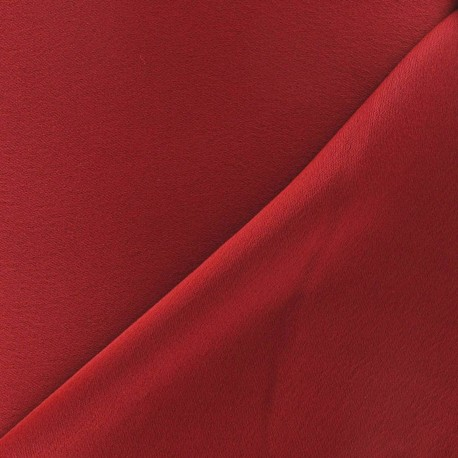 Crepe with satin reverse side Fabric - dark red x 10cm