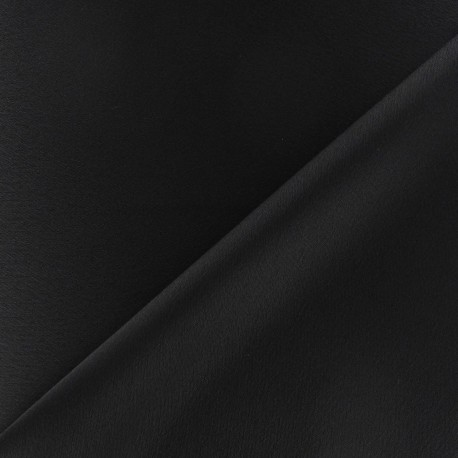Crepe with satin reverse side Fabric - black x 10cm