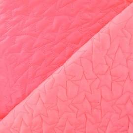 Tissu matelassé étoiles recto-verso rose fluo  x 10cm