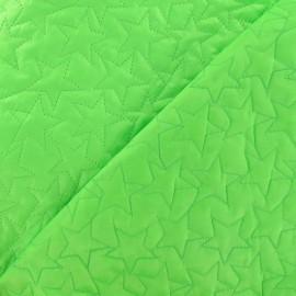 Tissu matelassé étoiles recto-verso vert fluo  x 10cm