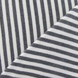 Tissu jersey rayures écru sur fond gris x 10cm