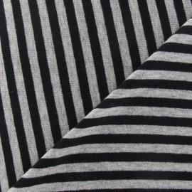 Tissu jersey rayures noires sur fond gris clair x 10cm