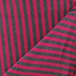 Tissu jersey rayures fuchsia sur fond gris x 10cm