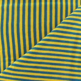 Tissu jersey rayures 4 mm jaune/bleu paon x 10cm
