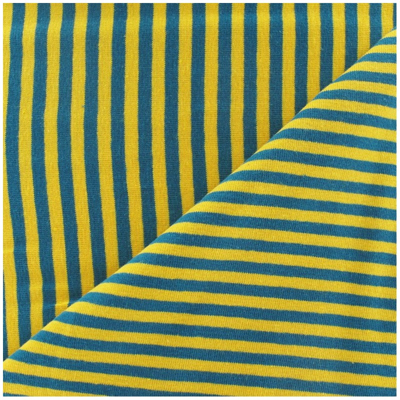 Tissus pas cher tissu jersey rayures 4 mm jaune bleu for Bleu canard et jaune