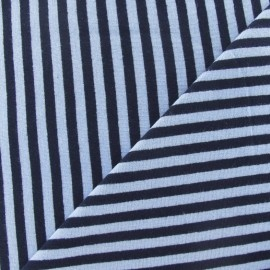 Tissu jersey rayures 4 mm bleu ciel / marine x 10cm