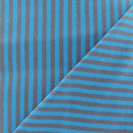 Tissu jersey rayures 4 mm bleuet / taupe x 10cm