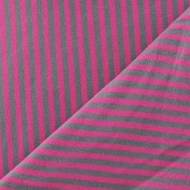 Tissu jersey rayures 4 mm barbapapa / taupe x 10cm