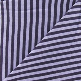 Tissu jersey rayures 4 mm parme / violet x 10cm