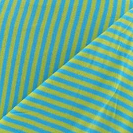 Tissu jersey rayures 4 mm bleuet / anis x 10cm