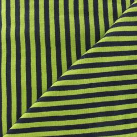Tissu jersey rayures 4 mm anis / marine x 10cm