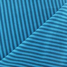 Tissu jersey rayures 4 mm bleu canard / bleuet x 10cm