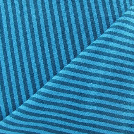 Jersey fabric with duck-blue stripes 4 mm - blueberry x 10cm