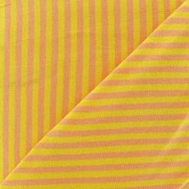 Tissu jersey rayures 4 mm jaune / melon x 10cm